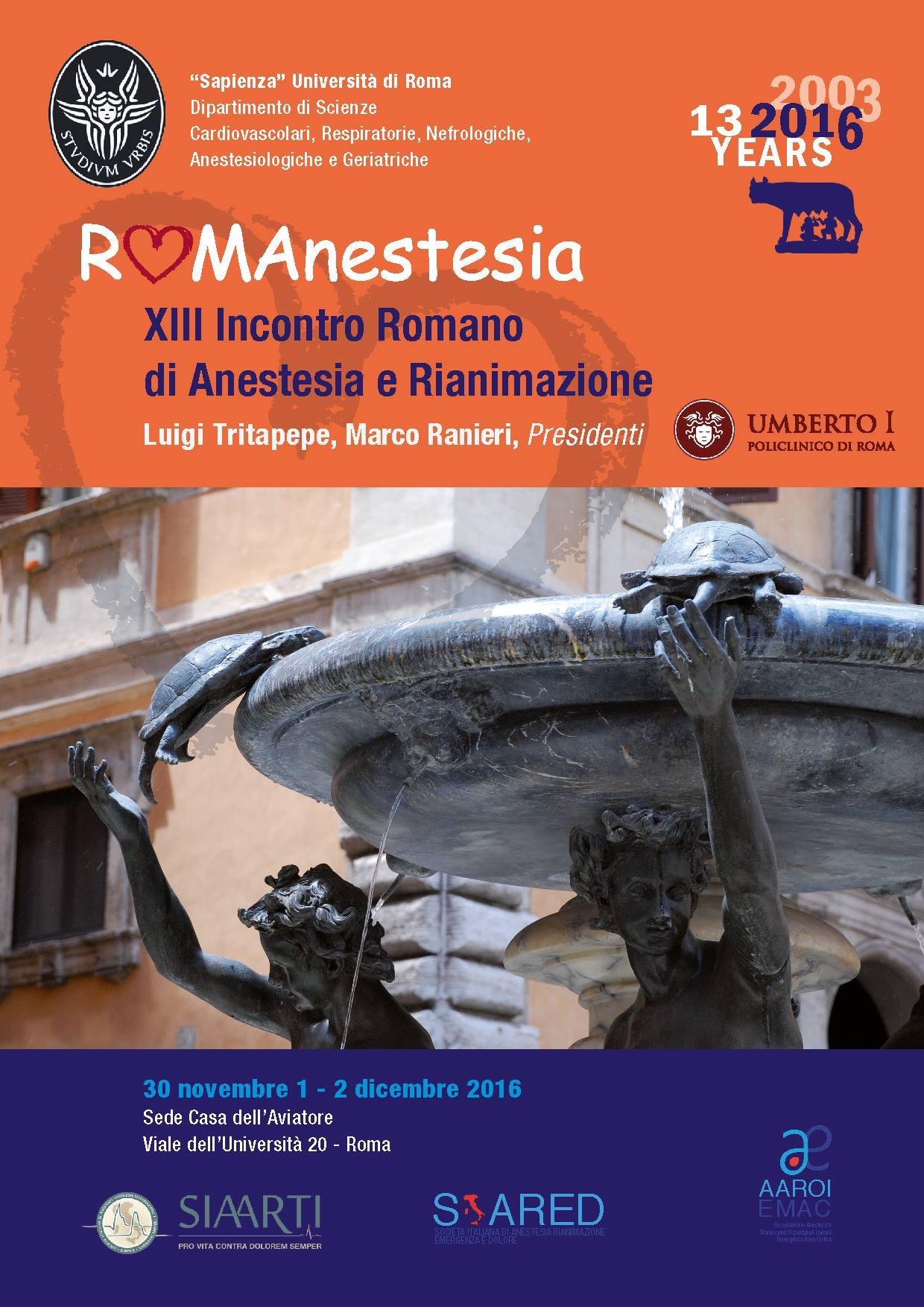 RomAnestesia 2016 , Roma, Casa dell'Aviatore, 30/11_1-2/12/2016