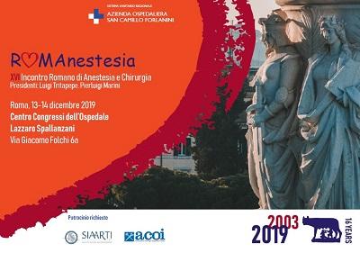RomAnestesia 2019, Roma, Centro Congressi Lazzaro Spallanzani, 13-14/12/ 2019